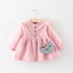 。一周岁生日礼服宝宝大红公主裙子婴儿洋气小女孩春秋装灯芯绒衣