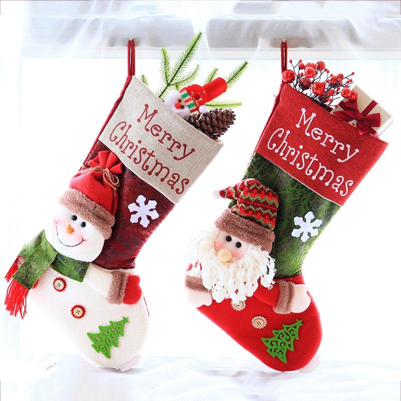 扬新款圣诞袜礼物袋圣诞树挂件大号圣诞老人礼品袋袜子圣诞节装饰