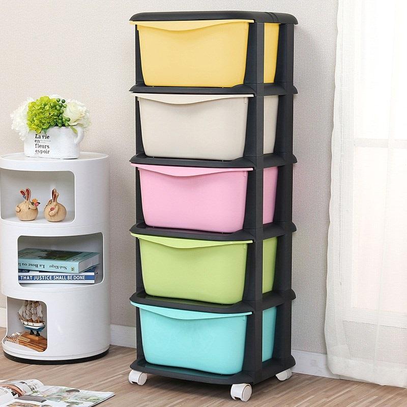 带轱辘层架儿童小有轮子储物盒收纳箱超大分层抽屉卧室整理箱