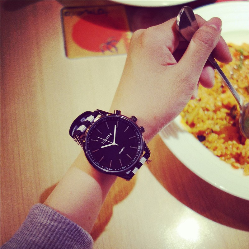 Watch male student Korean version simple female retro big dial fashion male fashion trend personality casual European and American canvas.