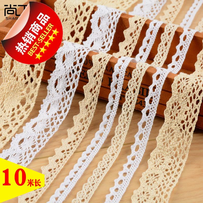 10米长 棉线编织宽蕾丝花边辅料DDIY手工桌布沙发床品窗帘布艺材
