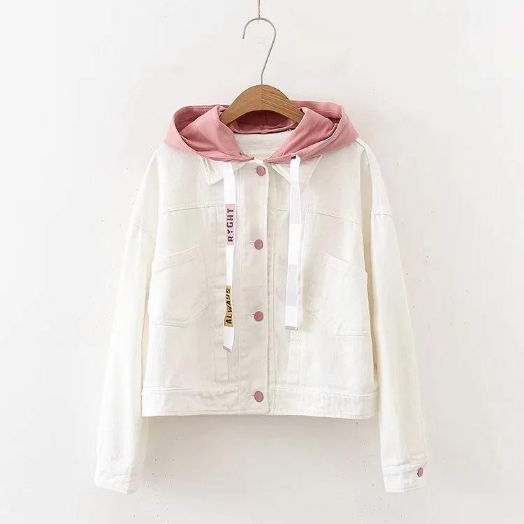 日系外套女韩版清新甜美纯色字母牛仔衣白色短款外套女连帽夹克衫