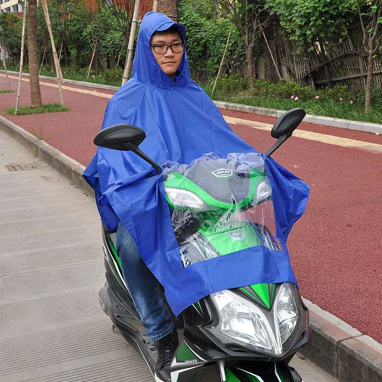 Light bicycle raincoat mens blue single simple cycling with hat fashion mens cycling waterproof adult portable