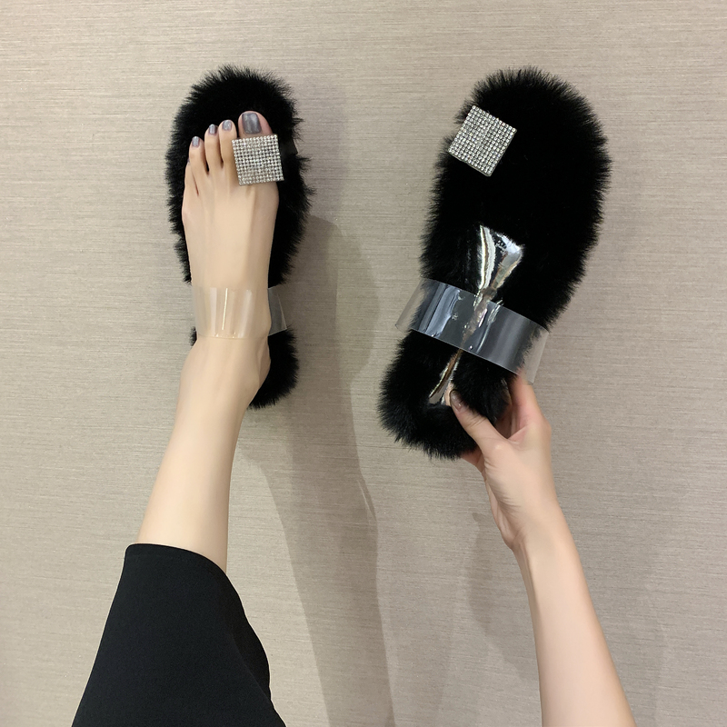 Maomao slippers toe sandals transparent rubber one line half slippers with open toe rabbit hair high heels flat bottom fashion womens shoes