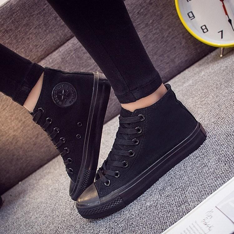 帆布鞋上班全黑工作男鞋春季平底板鞋休闲运动鞋学生小黑鞋女