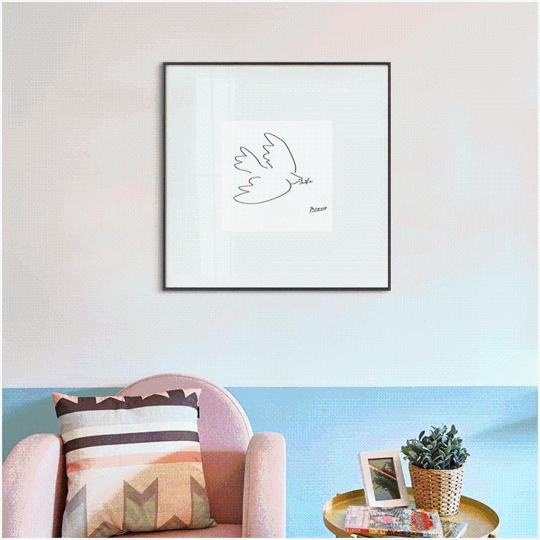 黑白创意沙发背景墙ins客厅装饰画