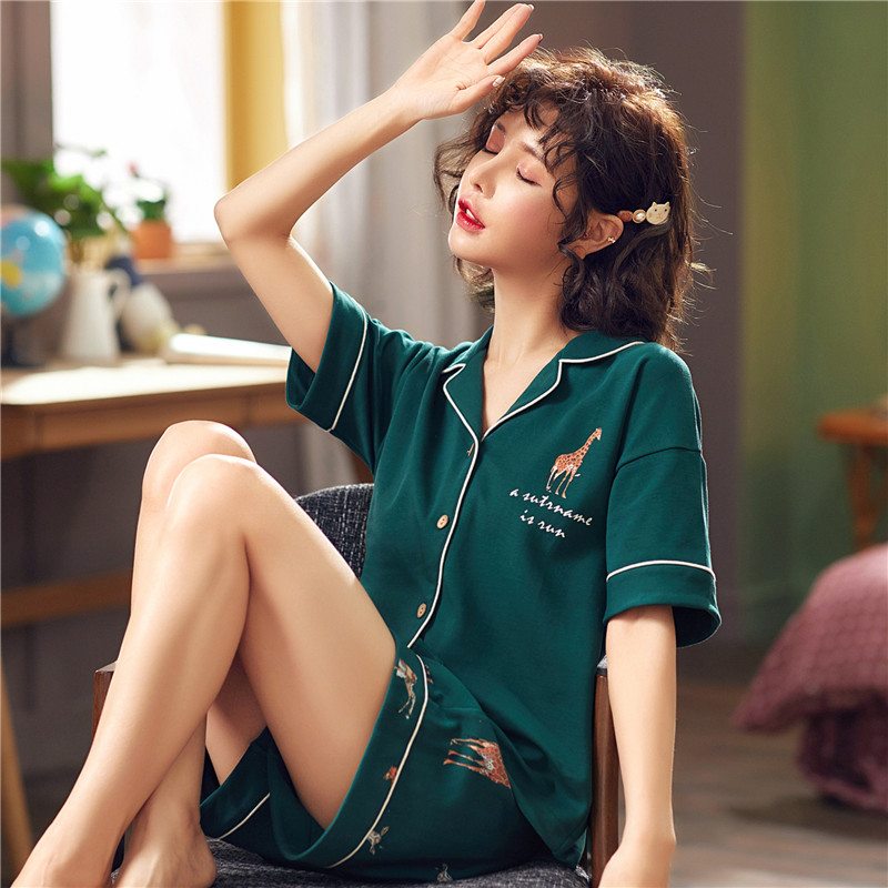 Pajamas womens spring and summer cotton short sleeve Lapel cardigan home clothes two piece suit Student Korean lovely cotton