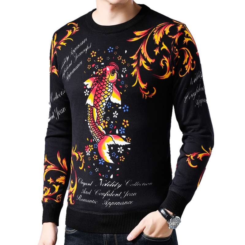 Chinese style red carp pattern printed T-shirt winter thickened Plush mens sweater round neck casual Pullover