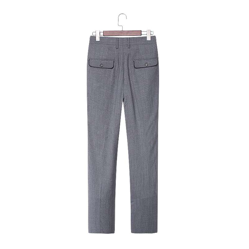 Bird family mens straight trousers wool fabric youth business pants mens overalls grey pants 65024
