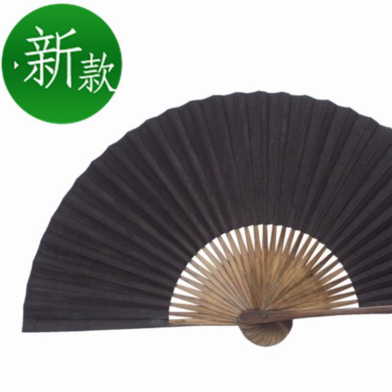 绍兴传h统扇子 全棕扇工艺毛全本黑纸折扇 戏曲曲艺用黑扇子