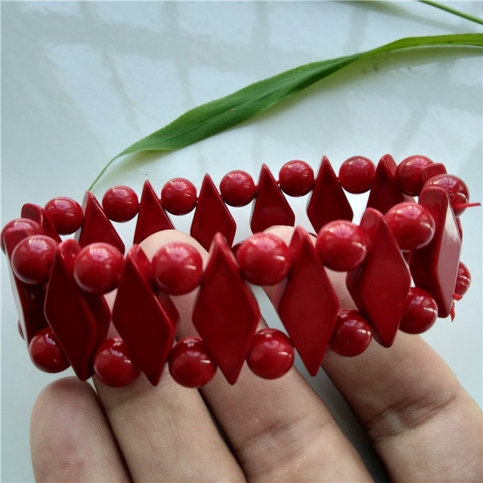 Hot selling quadrilateral Coral Bracelet beauty charm with one of the seven treasures of Round Beads Bracelet New 24mm