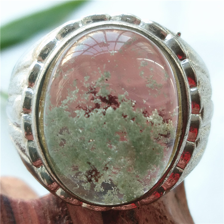 Refreshing natural green ghost Crystal Silver Ring raw mineral green ghost RING 925 silver holder precious gem collection