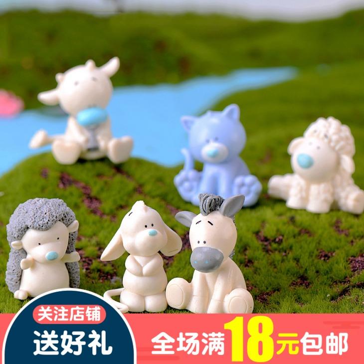 卡通河马奶牛小驴刺猬绵羊老鼠多肉植物花盆摆件蛋糕造景装饰