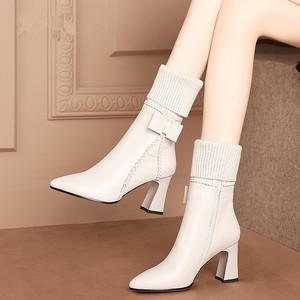 中筒靴女粗跟2020冬季新款米白色加绒真皮鞋瘦瘦靴马丁靴高跟短靴
