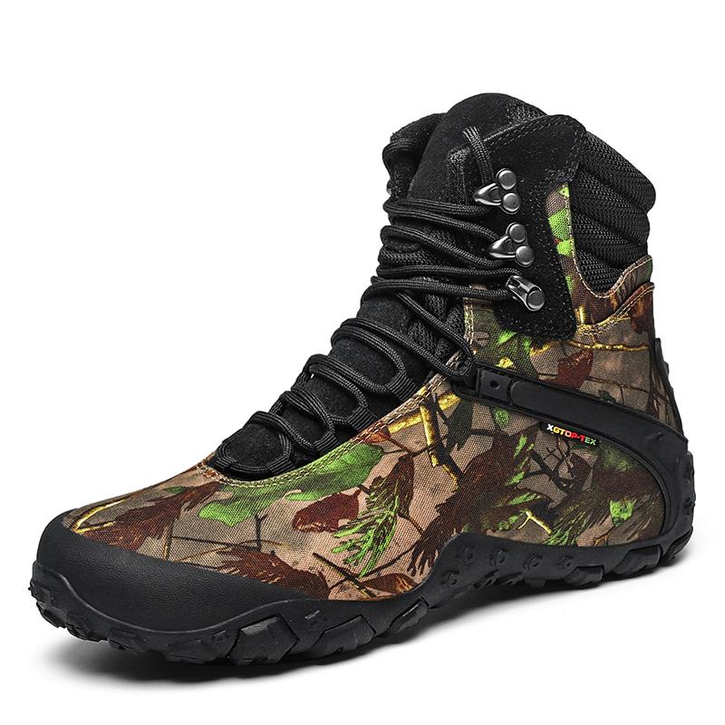 2021 outdoor climbing shoes mens Lightweight Waterproof anti slip wear resistant cowhide walking boots high top cross country mountain climbing shoes