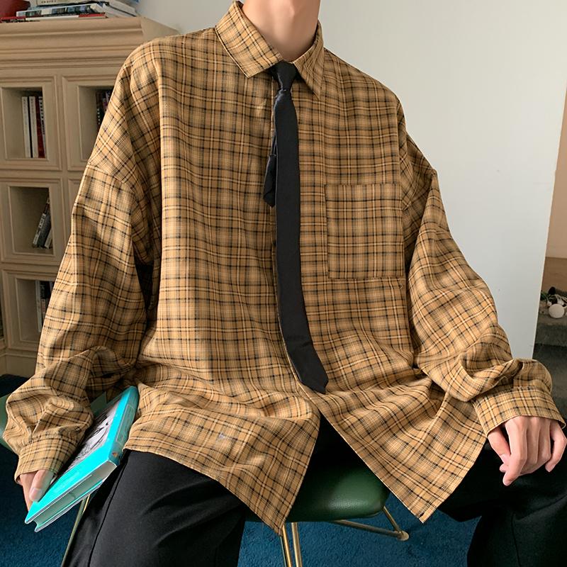 秋冬季衬衫外套长袖格子衬衣男港风宽松潮流休闲防晒衣CS8801-P55