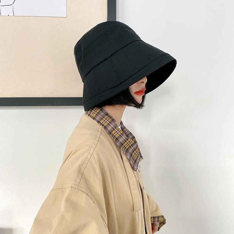 日系遮脸渔夫帽太阳帽子女韩版潮防紫外线夏季水桶帽百搭遮阳盆帽