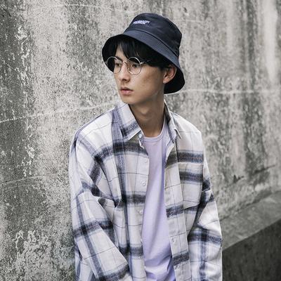 日系男装新款ins格子翻领宽松长袖衬衫D543-P40(不低于68)