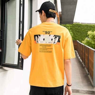 純棉短袖2019夏季新品圓領悟空印花寬松t恤打底衫F251-p35控59