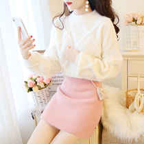 September Mo small fresh loose sweater with skirt Korean version of fashionable sweet little autumn and winter skirt two
