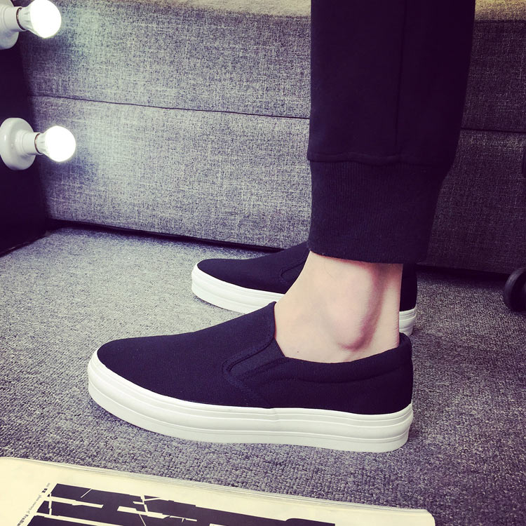 Japanese autumn slacker fashion shoes package mail mens canvas shoes with low top and thick bottom