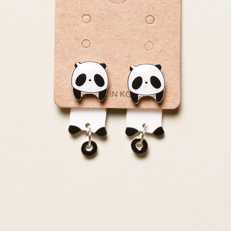 创意手作卡通熊猫前后趣味925耳钉