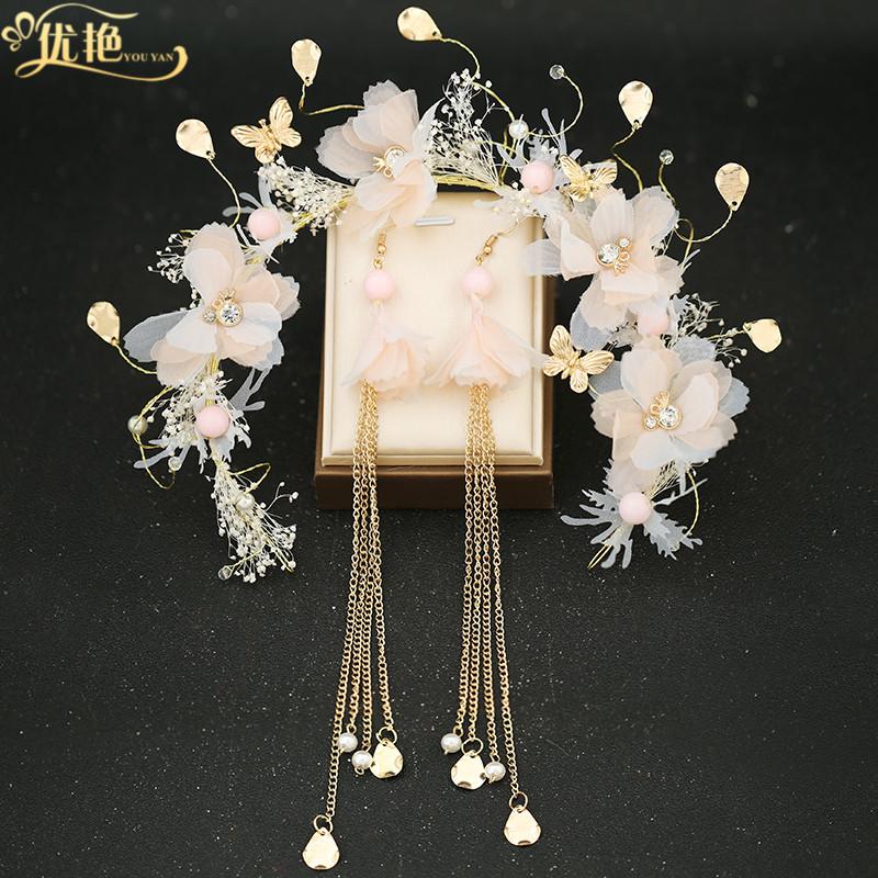 韩国森系仙美花环发箍结婚2020新款饰品婚纱头饰韩式新娘超仙