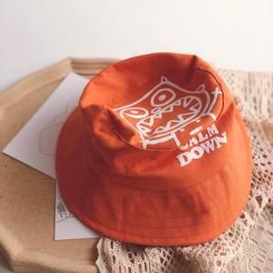 日本購卡通印花兒童漁夫帽子亮色寶盆帽日系原宿風平頂貓頭鷹