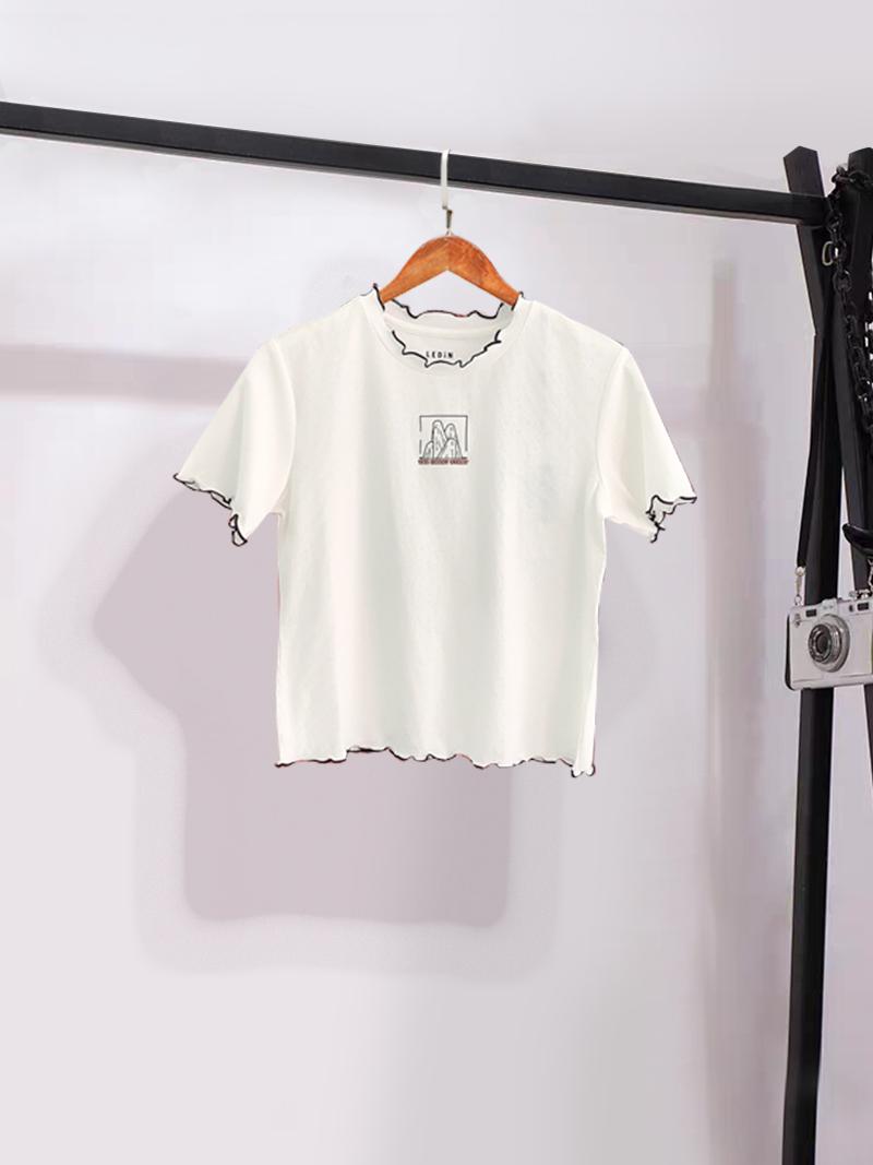 白色T恤女文雅乐町2020夏新款可爱木耳边短袖上衣C2EEA2201