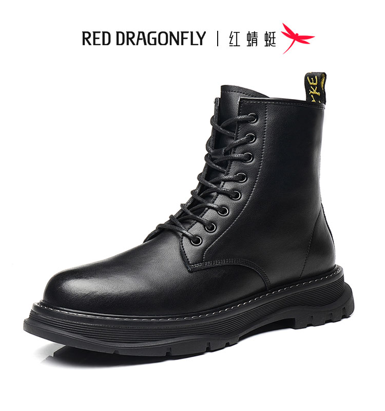 Red dragonfly autumn Martin boots male British style high-top leather men's boots winter plus velvet snow boots black leather boots men