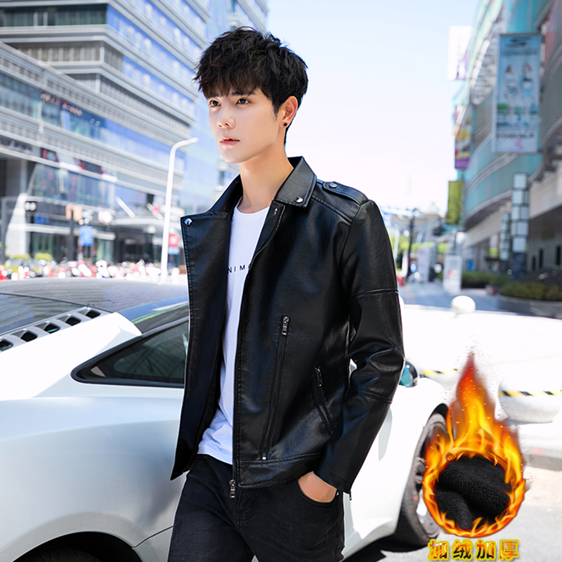 Winter Plush mens motorcycle leather coat mens Lapel spring and autumn coat slim fit Korean leather jacket youth motorcycle leather coat