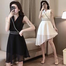 很仙的连衣裙网纱套装女2019夏季新款港味裙子显瘦短袖上衣两件套