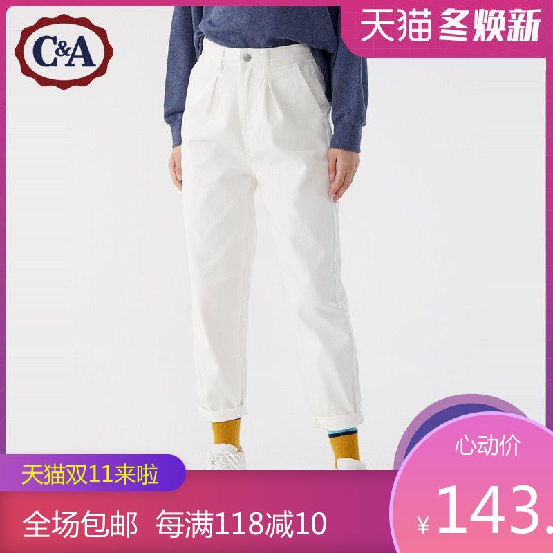 C&A复古高腰纯棉水洗宽松锥形米白色牛仔裤女士秋冬款CA200221087