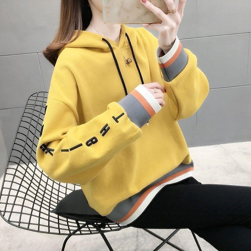 网红时尚韩版卫衣女潮ins加绒2021春秋季大码女装长袖上衣女外套