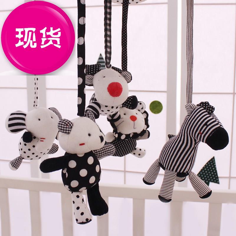 silxo玩具婴儿床铃挂件新生儿毛绒布艺车挂床挂摇铃bb器黑白j