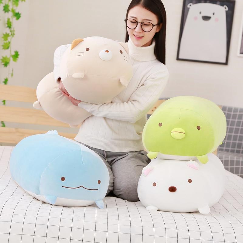 Cute super soft corner biological pillow doll holding sleeping baby girl holding bear plush toy