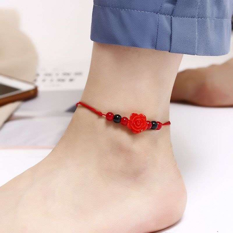 Hand woven Korean red rope jade agate bell Anklet student simple lovers versatile men and women Anklet