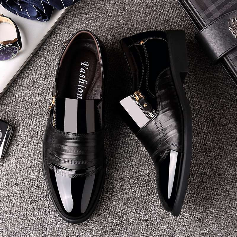 Mens business dress shoes with heel and low top shoes without lace up zipper