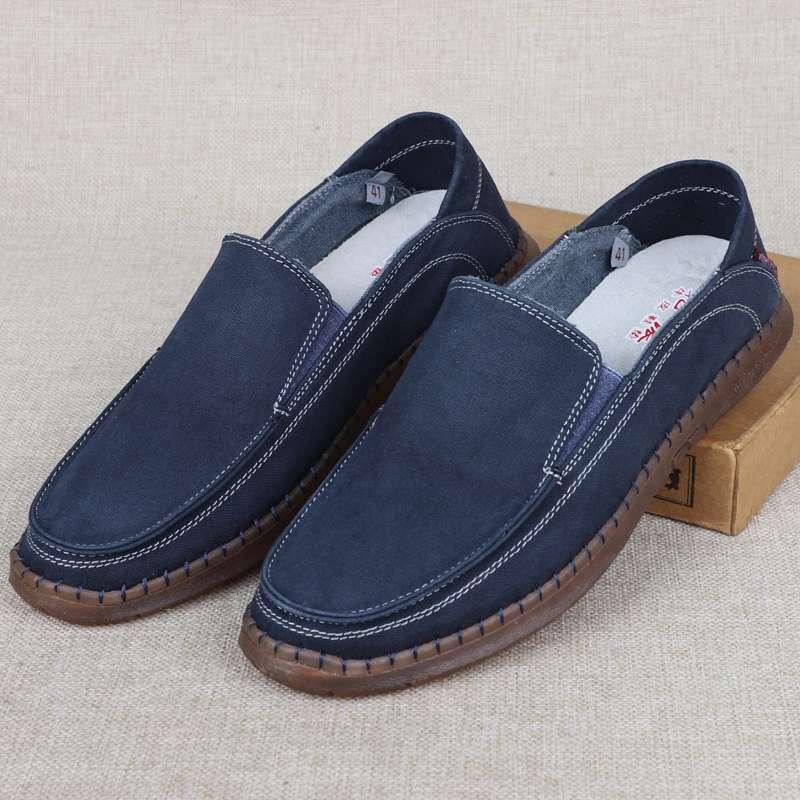 2020新款软底布鞋男轻便帆布面休闲鞋牛筋底一脚蹬懒人男士帆布鞋