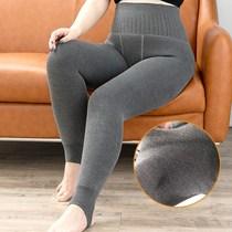 加大码胖mm200斤鱼骨高腰收腹打底裤女外穿冬季500克羊绒加绒加厚