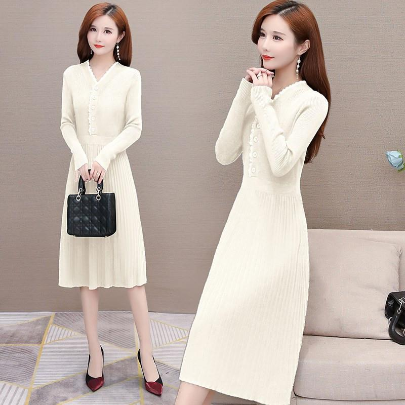 Knitted sweater dress womens autumn winter 2020 new fashion temperament medium length waist closing slim autumn skirt