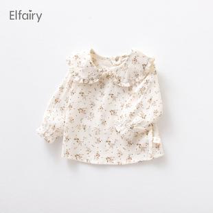Elfairy宝宝娃娃领衬衣女童碎花衬衫女婴儿打底衫春秋上衣小童装