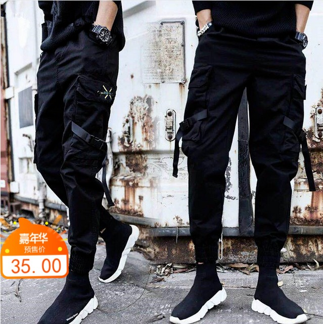 Recommended mens pants spring clothes ins fashion brand Korean corset pants tapered straight simple black overalls youth lengthening