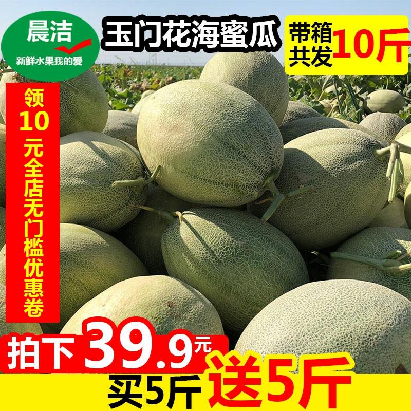 【甘肃玉门花海蜜瓜】哈密瓜带箱10斤水果新鲜一箱网文香瓜5包邮
