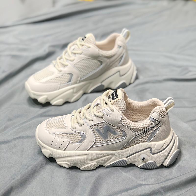 老爹鞋ins潮女鞋子2021新款真皮超火韩版百搭增高显瘦休闲运动鞋