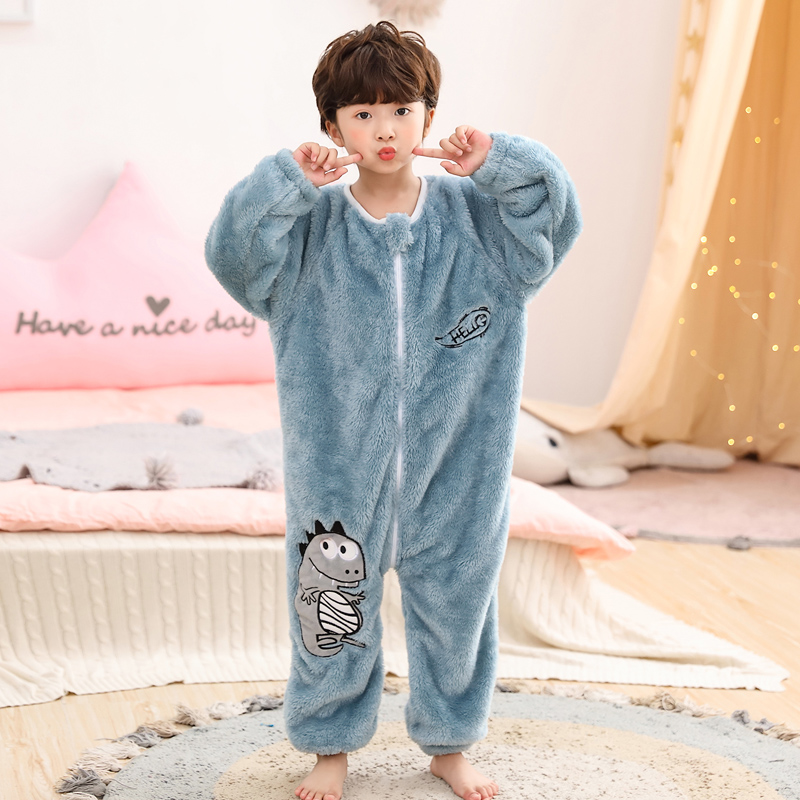 One piece pajamas childrens autumn and winter thickened sleeping bag baby coral flannel jacket kick proof dinosaur mens and womens wear