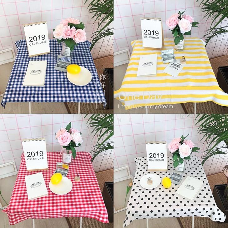 韩风ins格子波点清新棉麻北欧奶茶店咖啡馆桌布餐桌桌垫房间装。
