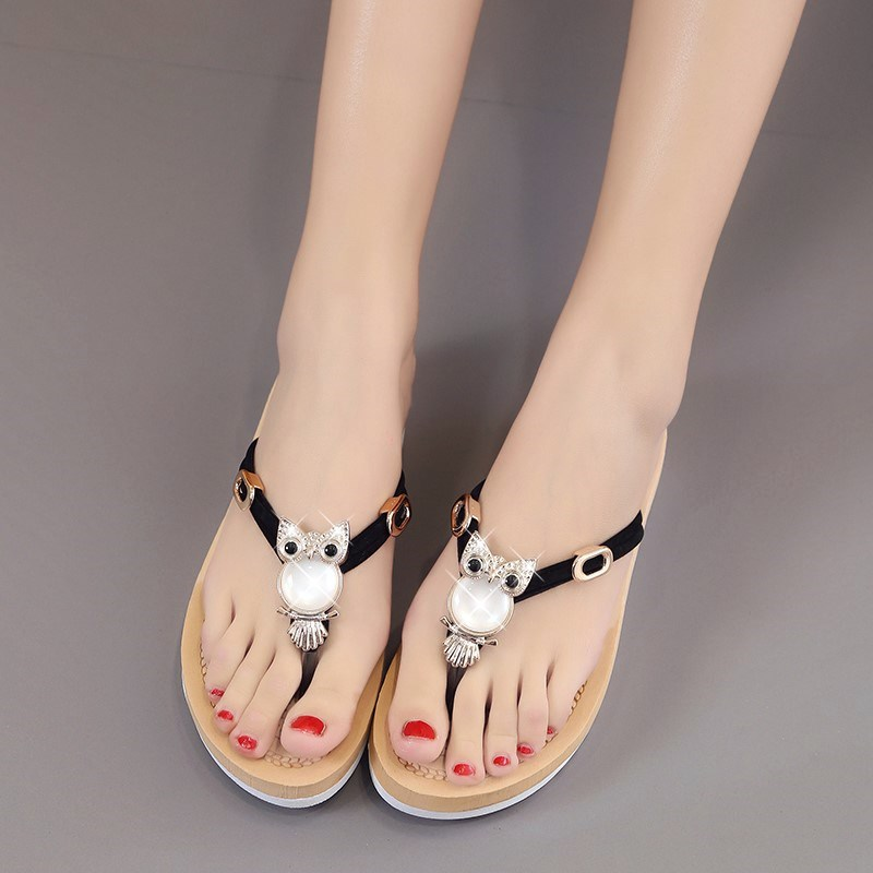 Peoples slippers, womens summer fashion Korean version, wear non slip and all-around thick soles with toe flip flops to cool out.