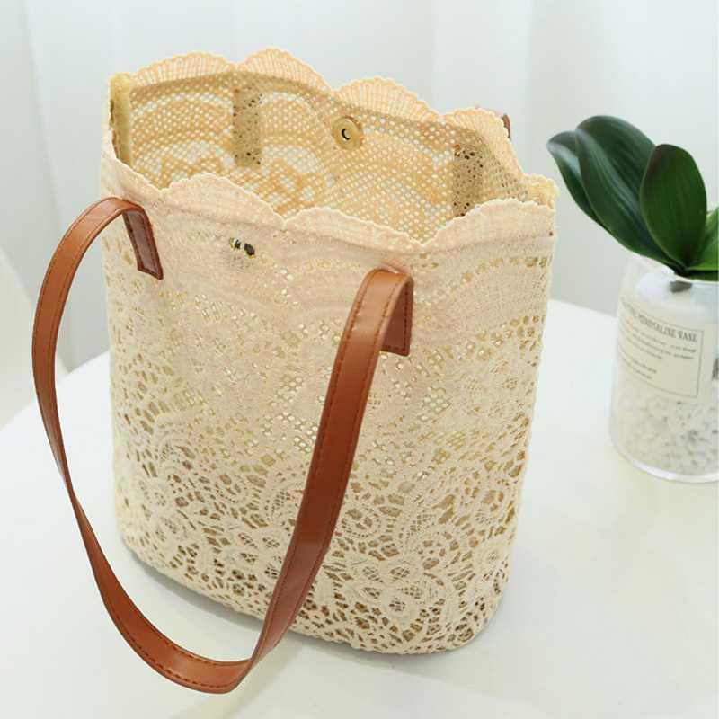New Korean version of Mori lace aestheticism Shoulder Bag Handbag womens large capacity bucket shopping bag