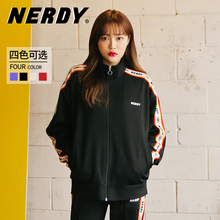 Nerdy star's same 2020 spring clothing new product ins Hanchao versatile fashion splicing letter sports leisure coat